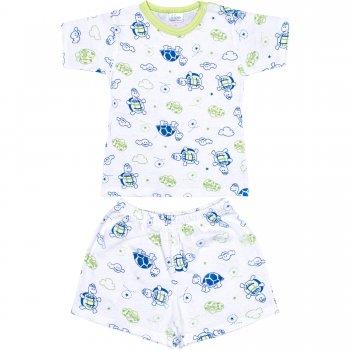 Pijamale vară cu mânecă scurtă și pantaloni scurți imprimeu model țestoase