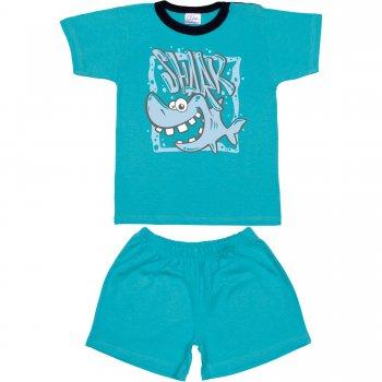 """Pijamale vară cu mânecă scurtă și pantaloni scurți aqua imprimeu """"shark"""""""