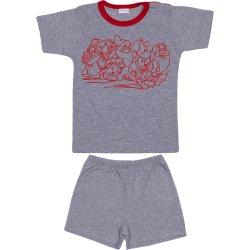 Pijamale vară cu mânecă scurtă și pantaloni scurți gri imprimeu pitici