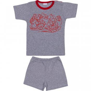 Pijamale vară cu mânecă scurtă și pantaloni scurți gri imprimeu pitici | liloo