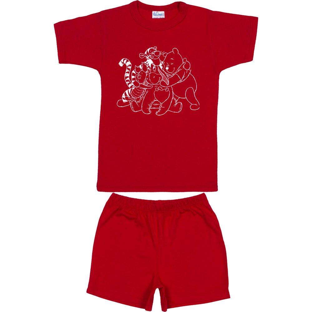 Pijamale vară cu mânecă scurtă și pantaloni scurți roșie imprimeu animăluțe | liloo