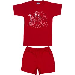 Red short-sleeve thin PJs with animals print