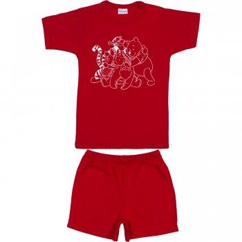 Pijamale vară cu mânecă scurtă și pantaloni scurți roșie imprimeu animăluțe