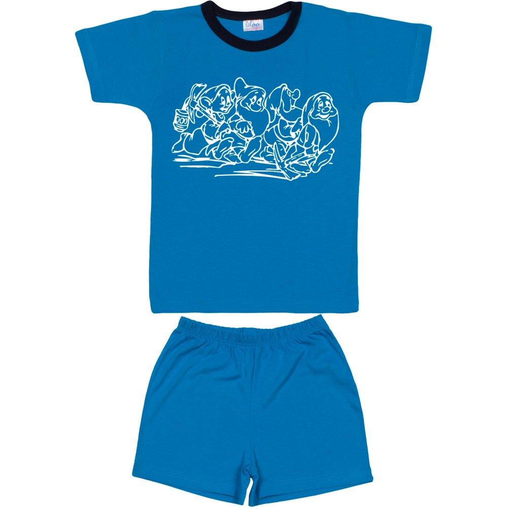 Pijamale vară cu mânecă scurtă și pantaloni scurți turcoaz imprimeu pitici | liloo