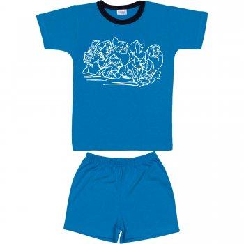 Pijamale vară cu mânecă scurtă și pantaloni scurți turcoaz imprimeu pitici