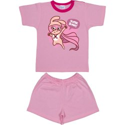 Pink short-sleeve thin PJs with super bunny print