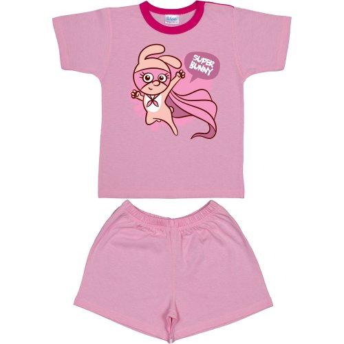 """Pijamale vară cu mânecă scurtă și pantaloni scurți roz imprimeu """"super bunny"""""""
