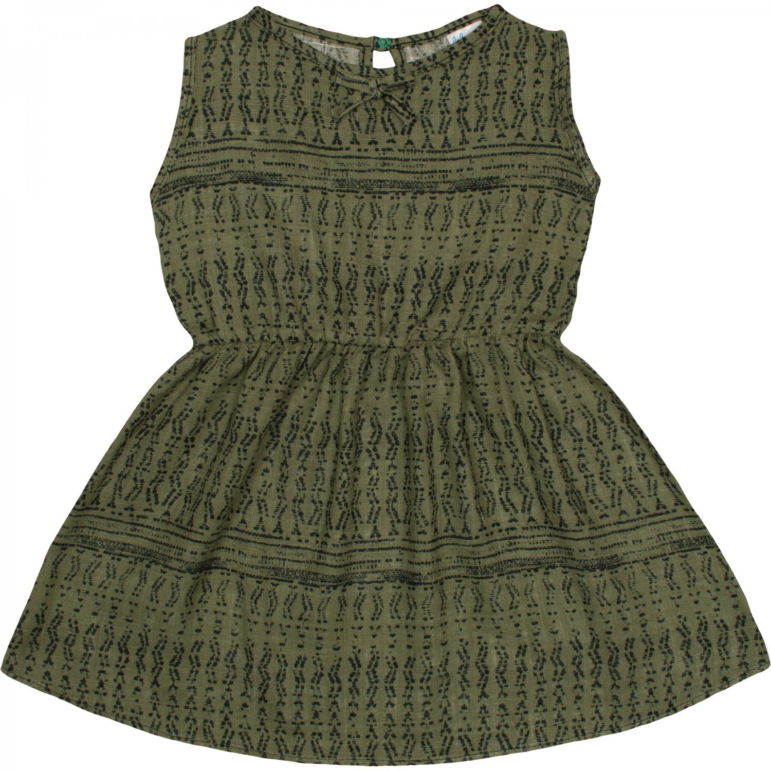 Out Of Stock Olive green summer dress with grey traditional styled allover print - liloo