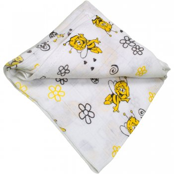 Scutec tetra (bumbac) alb cu imprimeu albinuțe - lavabil și refolosibil