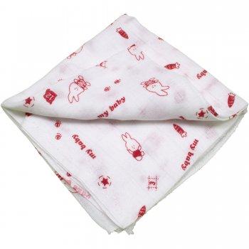 Scutec tetra (bumbac) alb cu imprimeu iepuraș roșu - lavabil și refolosibil | liloo