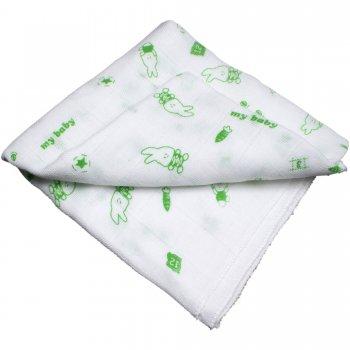 Scutec tetra (bumbac) alb cu imprimeu iepuraș verde - lavabil și refolosibil | liloo