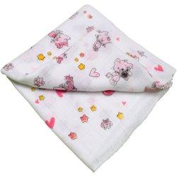 Scutec tetra (bumbac) alb cu imprimeu pisicuțe și inimioare - lavabil și refolosibil