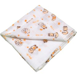 Scutec tetra (bumbac) alb cu imprimeu ursuleți - lavabil și refolosibil