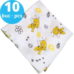 Washable reusable tetra diaper cloth - bee print (10 pieces pack)