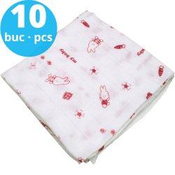 Scutece tetra (bumbac) albe cu imprimeu iepuraș roșu - lavabile și refolosibile - set economic 10 bucăți