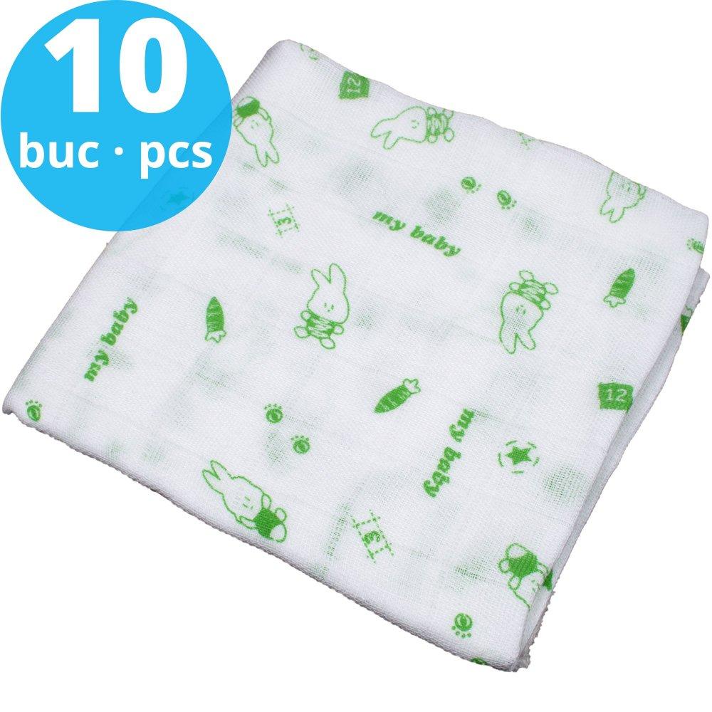 Pachet economic 10 scutece tetra (bumbac) albe cu imprimeu iepuraș verde - lavabile și refolosibile | liloo