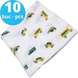 Washable reusable tetra diaper cloth - cars & busses print (10 pieces pack)