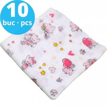 Scutece tetra (bumbac) albe cu imprimeu pisicuțe și inimioare - lavabile și refolosibile - set economic 10 bucăți