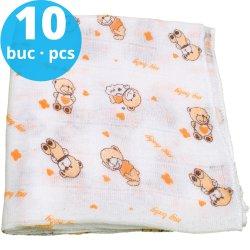 Scutece tetra (bumbac) albe cu imprimeu ursuleți - lavabile și refolosibile - set economic 10 bucăți