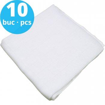 Scutece tetra (bumbac) albe - lavabile și refolosibile - set economic 10 bucăți