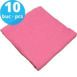 Scutece tetra (bumbac) roz - lavabile și refolosibile - set economic 10 bucăți