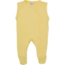 Yellow sleeveless sleep & play with footies