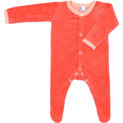 Peach velour long-sleeve sleep & play with footies