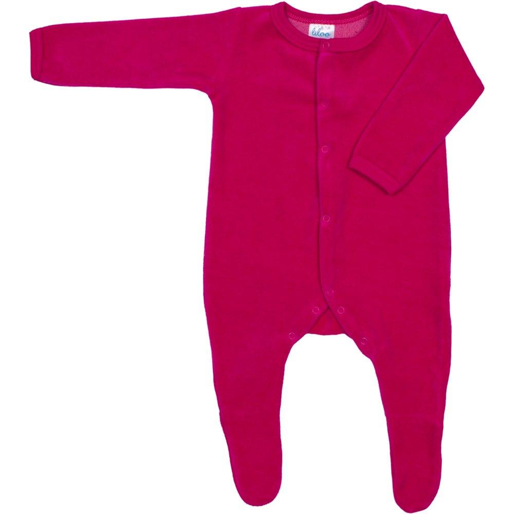 Salopetă catifea - mânecă lungă și pantaloni cu botoșei fucsia | liloo