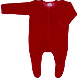 Red velour long-sleeve sleep & play with footies