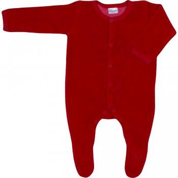 Salopetă catifea - mânecă lungă și pantaloni cu botoșei roșie | liloo