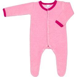 Salopetă catifea - mânecă lungă și pantaloni cu botoșei roz