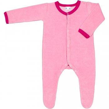 Salopetă catifea - mânecă lungă și pantaloni cu botoșei roz | liloo