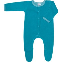 Turquoise velour long-sleeve sleep & play with footies