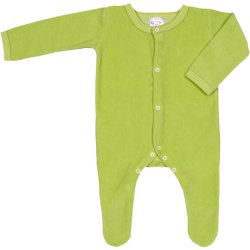 Lime green velour long-sleeve sleep & play with footies