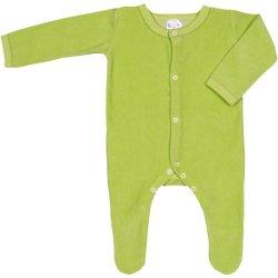 Salopetă catifea - mânecă lungă și pantaloni cu botoșei verde lime