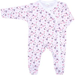 White long-sleeve sleep & play with footies with hearts allover print