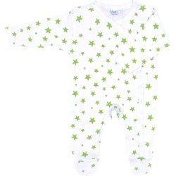 Salopetă mânecă lungă și pantaloni cu botoșei albă cu steluțe verzi
