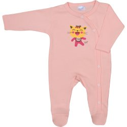 Salmon long-sleeve sleep & play with footies with cool cat print
