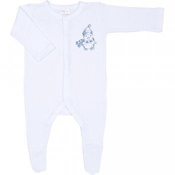 Salopetă mânecă lungă și pantaloni cu botoșei albă imprimeu pinguin cu fular - închidere frontală | liloo
