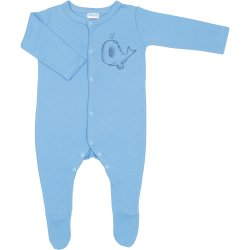 Azure long-sleeve sleep & play with footies with whale print - center snaps