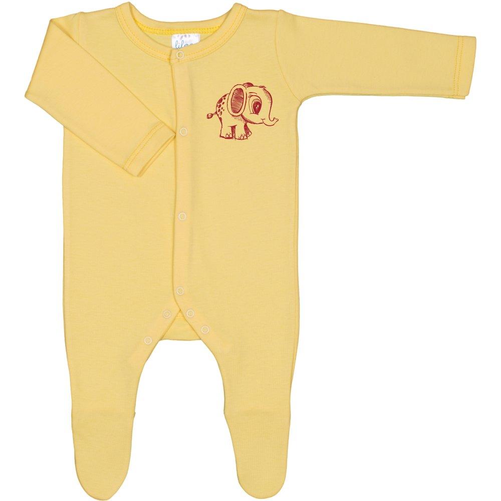 Salopetă mânecă lungă și pantaloni cu botoșei galbenă imprimeu elefănțel | liloo