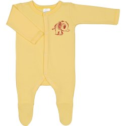 Yellow long-sleeve sleep & play with footies with elephant print - center snaps