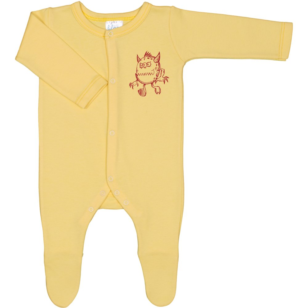 Salopetă mânecă lungă și pantaloni cu botoșei galbenă imprimeu monstruleț | liloo