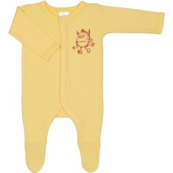 Yellow long-sleeve sleep & play with footies with cute little monster print - center snaps