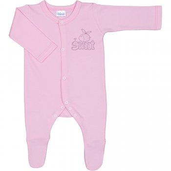"""Salopetă mânecă lungă și pantaloni cu botoșei roz imprimeu albinuță """"sweet"""" - închidere frontală"""