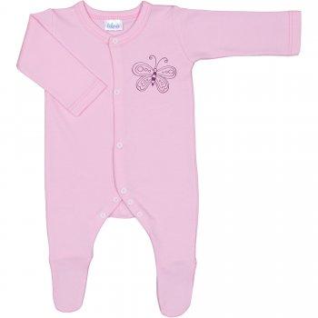 Salopetă mânecă lungă și pantaloni cu botoșei roz imprimeu fluturaș - închidere frontală