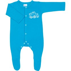 Turquoise long-sleeve sleep & play with footies with 4x4 car print - center snaps