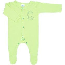Salopetă mânecă lungă și pantaloni cu botoșei verde lime imprimeu broscuță - închidere frontală