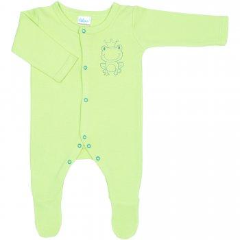 Salopetă mânecă lungă și pantaloni cu botoșei verde lime imprimeu broscuță (închidere frontală) | liloo