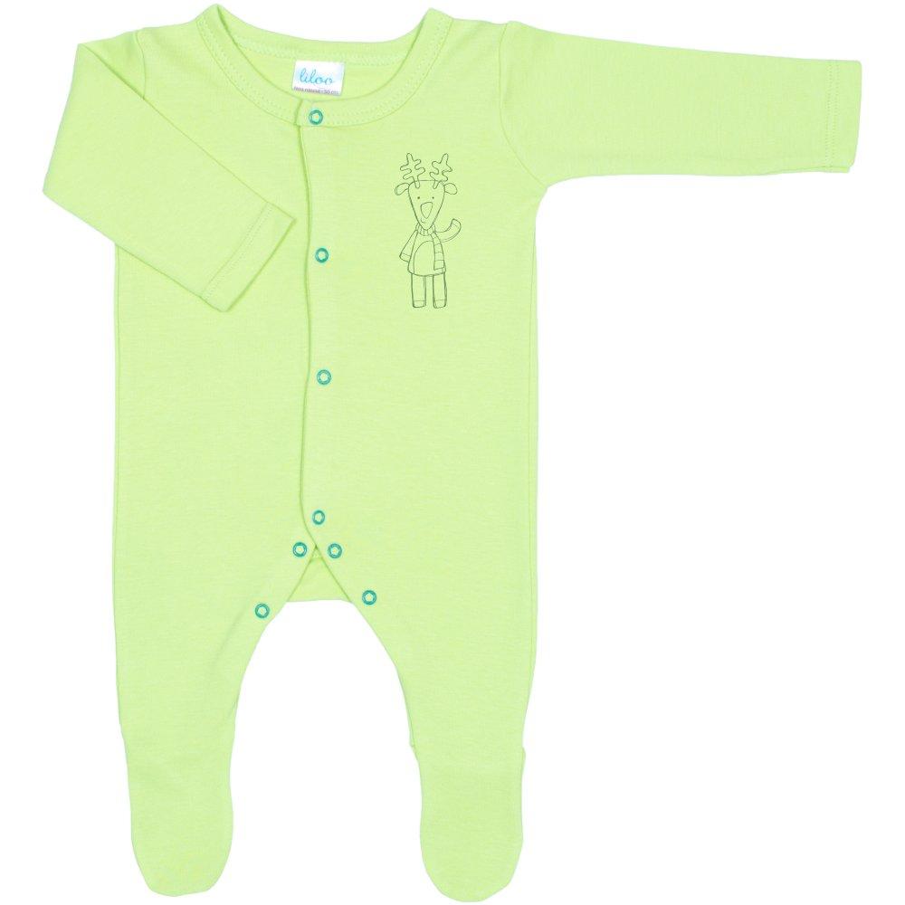 Salopetă mânecă lungă și pantaloni cu botoșei verde lime imprimeu ren | liloo